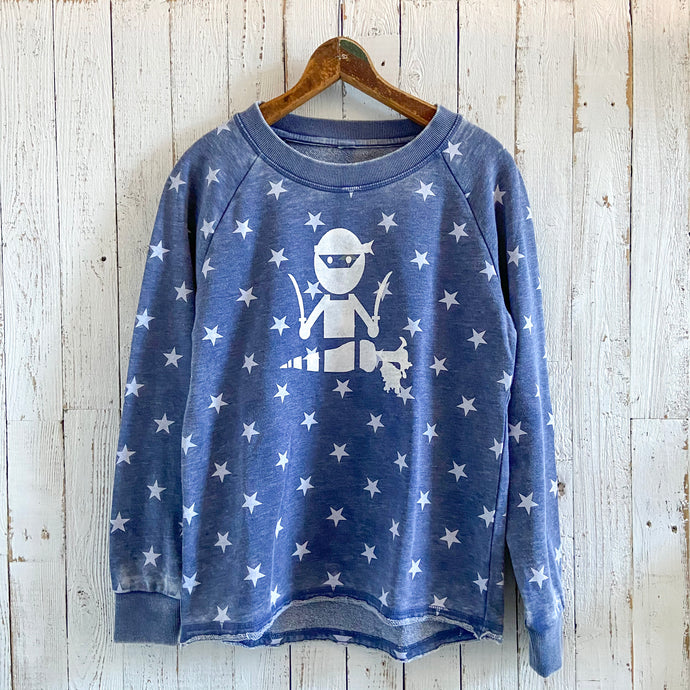 Veggie Ninja & Star Printed Burnout French Terry Pullover Sweatshirt