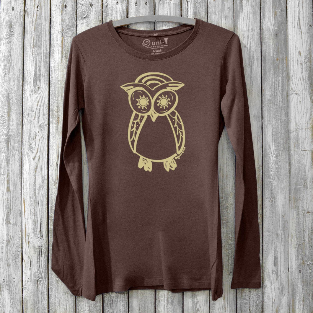 Owl Long Sleeve T-shirt for Women Uni-T