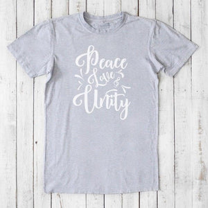 Peace Love Unity T-shirt for Men | Typography Clothing