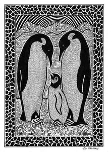 Owl | Penguins | 8X10 Pen & Ink Art Prints Uni-T