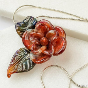 Rose Flower Torch Worked Glass with Silver Snake Chain Necklace Uni-T Necklace
