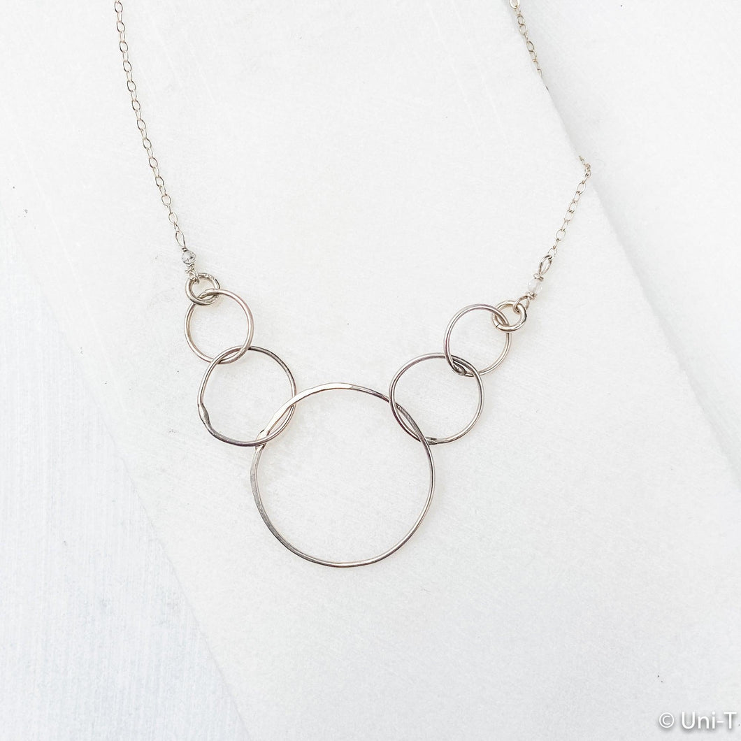 Sterling Silver Linked Rings Necklace Uni-T Necklace