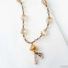 Gold Twist Swarovski Crystals with Gold Toggle Clasp and Murano Gold Glass Bead and Quartz Drops Uni-T Necklace