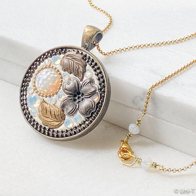 Flower & Leaves Pendant on Tiny Plated Ball Chain Uni-T Necklace