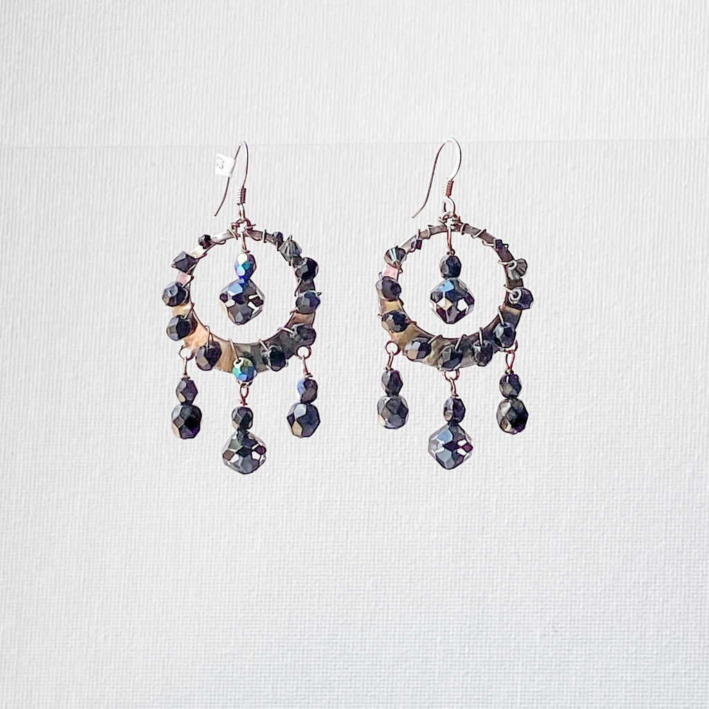 Black Crystals Woven Around Silver Circle Sterling Earwire Uni-T Earrings