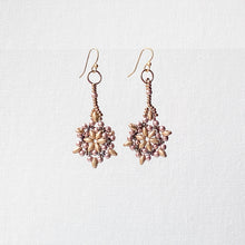 Matte Silver Snowflake Woven Seed Bead Earrings with Tiny Lilac Glass Pearls and Bronze Uni-T Earrings