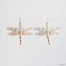 White Washed Brass Dragonfly Metal Stamping Earrings Uni-T Earrings