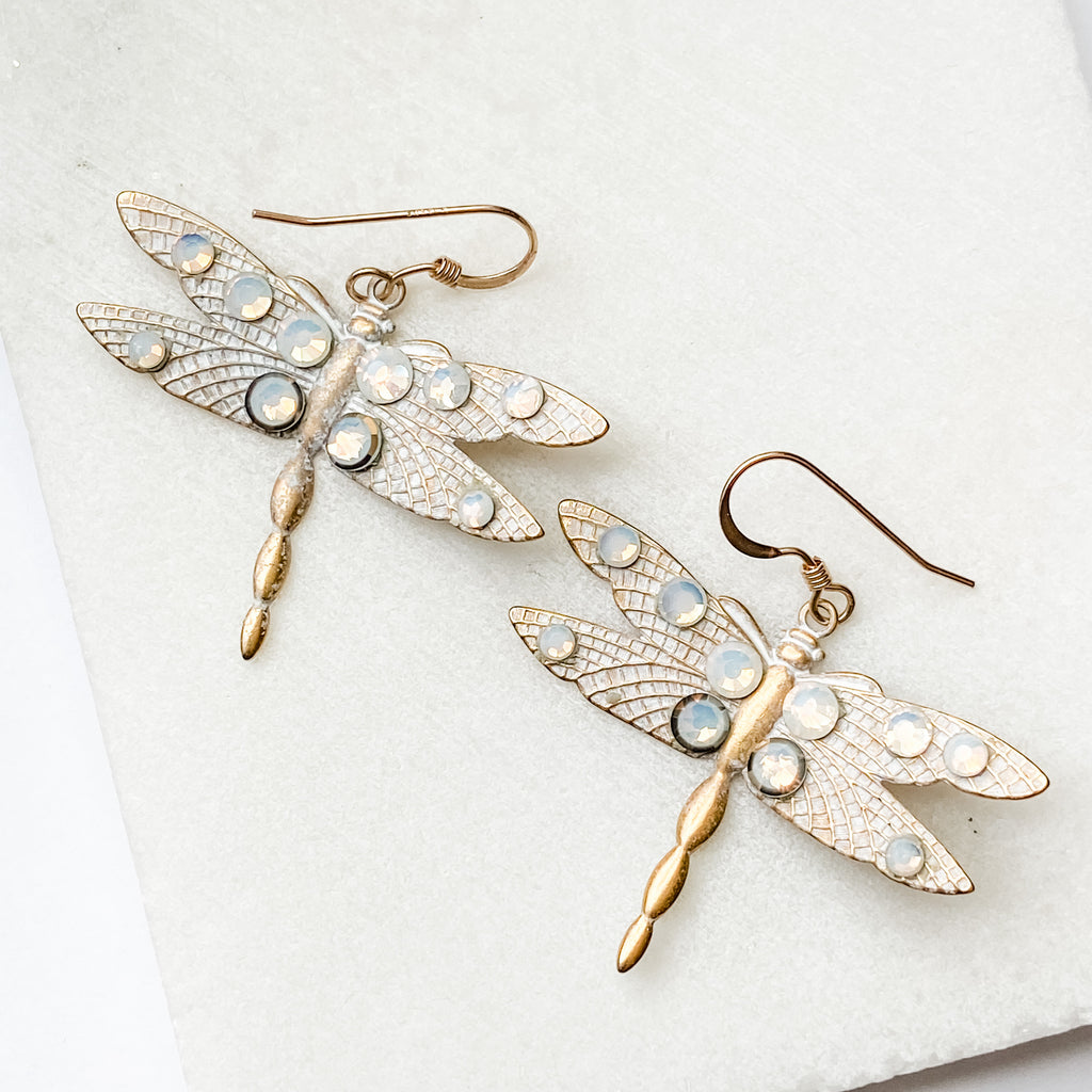 White Washed Brass Dragonfly Metal Stamping Earrings