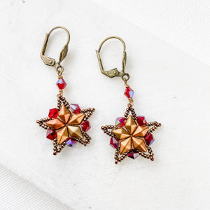 Brass Lever Back Seed Beaded Star Earrings