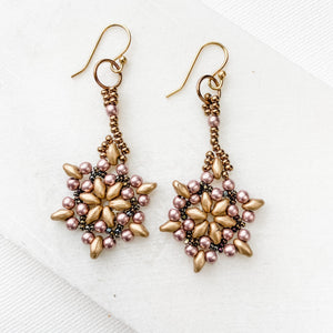 Matte Silver Snowflake Woven Seed Bead Earrings with Tiny Lilac Glass Pearls and Bronze