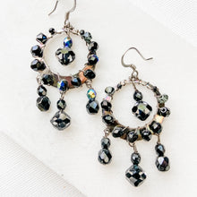 Black Crystals Woven Around Silver Circle Sterling Earwire