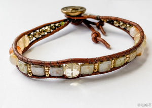Single Woven Bracelet with Citrine, Jasper and Hematite Beads Uni-T Bracelets