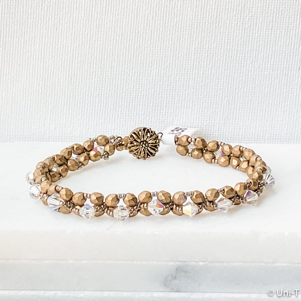 Woven Gold Matte Beads with Swarovski Crystals on Top-Round Filigree Clasp Uni-T Bracelets