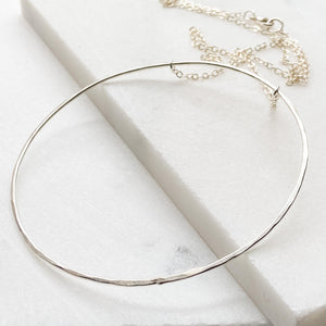 Hammered Sterling Silver Extra Large Hoop Necklace Uni-T Necklace