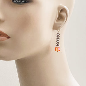Amber Square Crystal on Arrowhead Chain Earrings Uni-T Earrings
