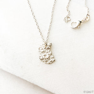 Silver Lava Impression Necklace, Precious Metal Clay 99% Silver with Sterling Silver Chain