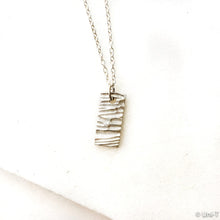 Silver Textured Rectangle Necklace, Precious Metal 99% Silver Clay with Sterling Silver Chain