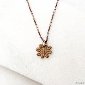 Daisy Necklace, Precious Metal Clay 99% Pure Bronze with Sterling Silver Chain