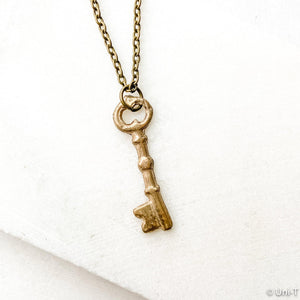 Skeleton Key Necklace, Precious Metal Clay Bronze Necklaces