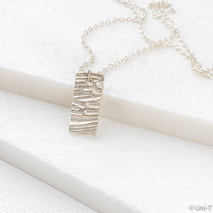 Silver Textured Rectangle Necklace, Precious Metal Clay Necklaces Uni-T Necklace