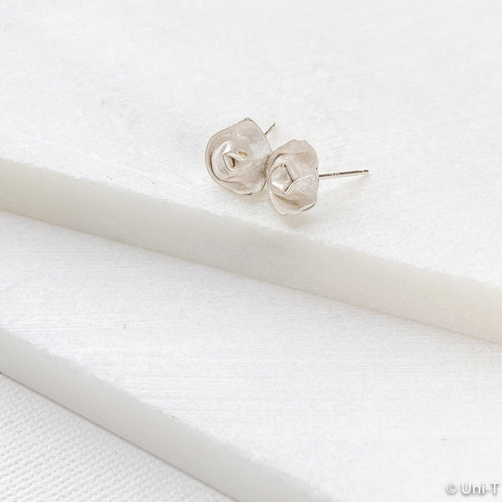 Fine Silver Flower Studs Earrings, 99% Pure Silver Precious Metal Clay