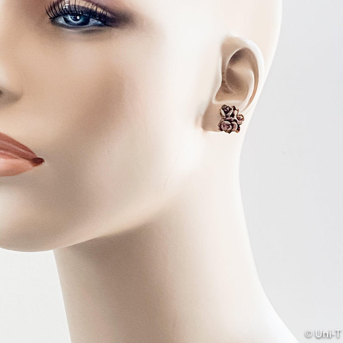 Precious Metal Clay Bronze Studs Earrings Uni-T Earrings
