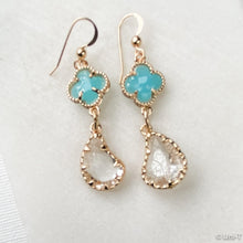 Paisley Drop Crystal Earrings with Gold Filled Earwire