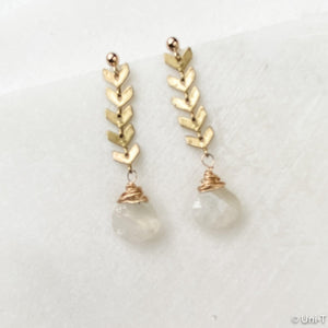 Gold Filled Chevron and Teardrop Quartz Earrings