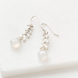 Milky Quartz and White Chevron Chain Earrings