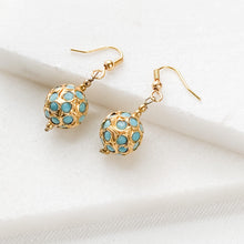 Blue and Gold Bead Earrings