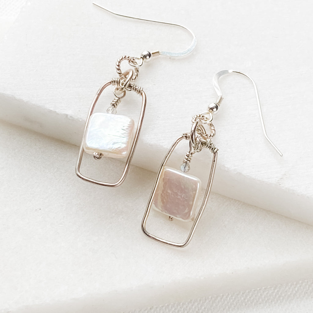 Vertical Silver Frame with Square Pearl Earrings