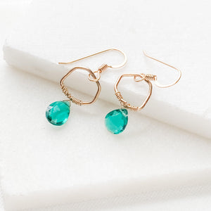 Gold and Green Quartz Drop Earrings with Gold Filled Earwire