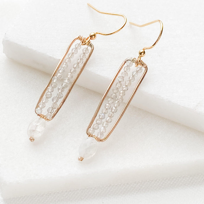 Moonstone and Gold Vertical Bar Earrings with Gold Filled Earwire