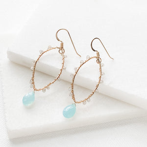 Wire Wrapped Oval Drop Earrings