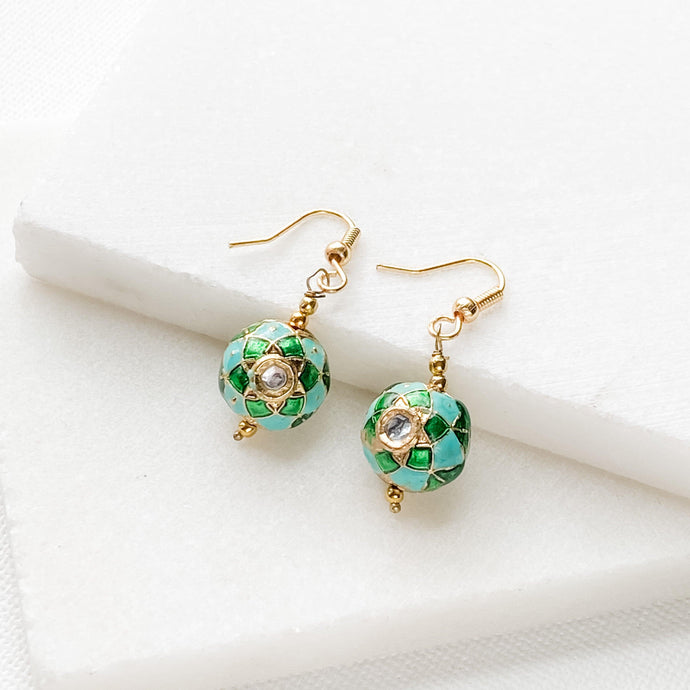 Blue and Green Painted Bead Earrings