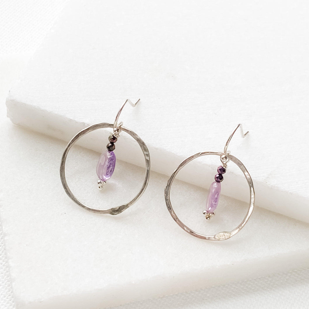 Sterling hoops with amethyst drops