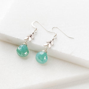 Silver Chevron and Chalcedony Teardrop Earrings