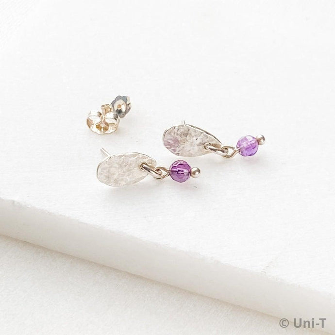 Sterling Teardrop Studs with Amethyst