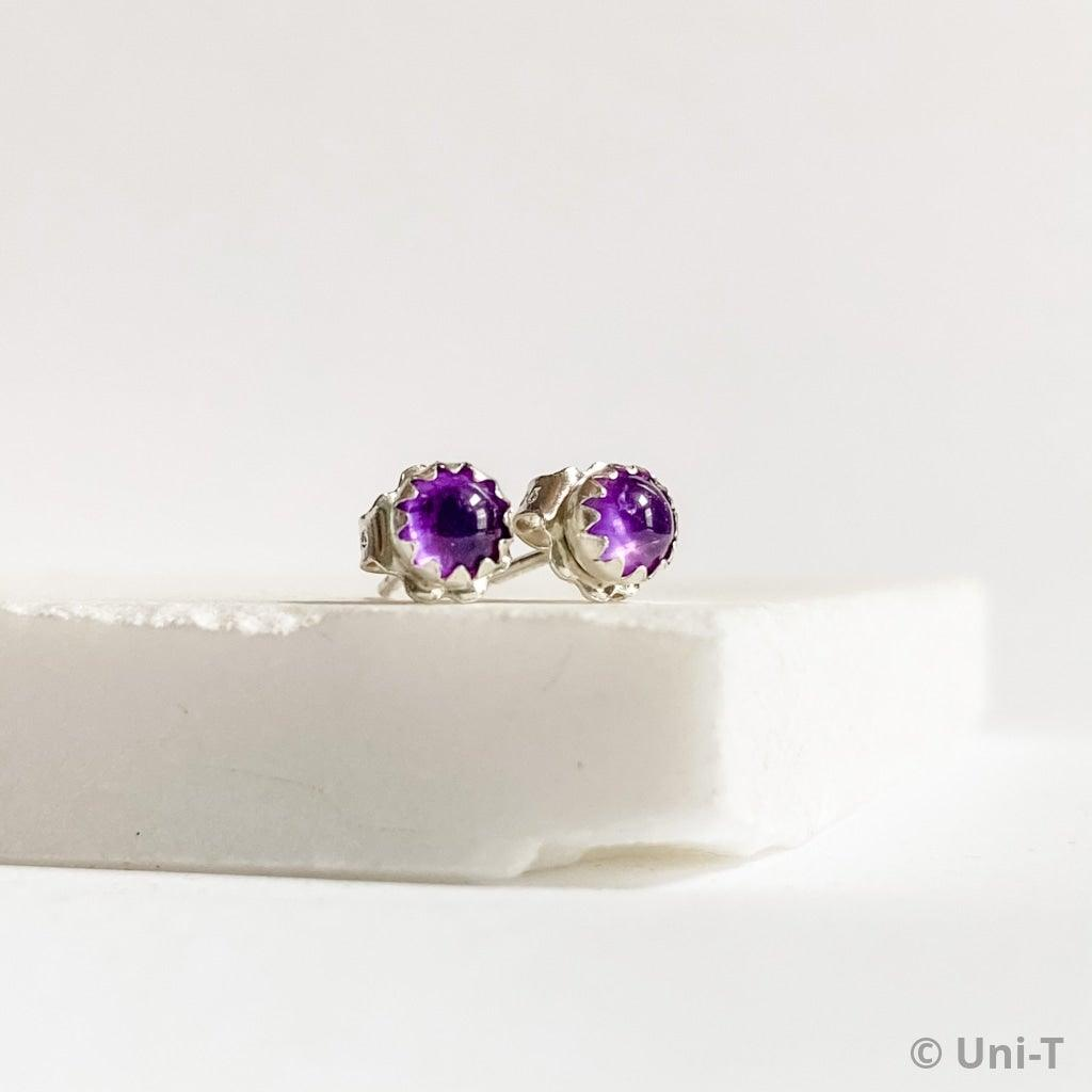 Amethyst Stud Earrings, Birthday Gemstone - February