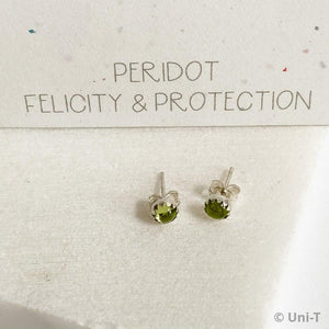 Peridot Stud Earrings, Birthday Gemstone - August