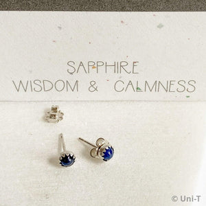 Sapphire Stud Earrings, Birthday Gemstone - September
