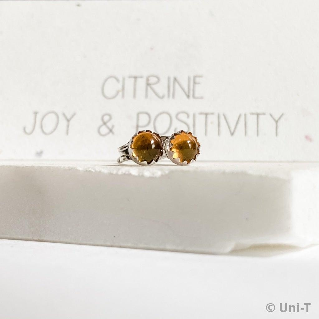 Citrine Stud Earrings, November Birthday Gemstone- November