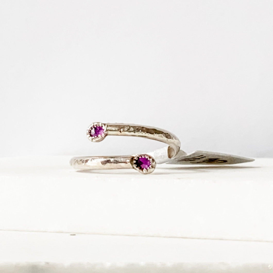 Double Amethyst Rustic Adjustable Ring