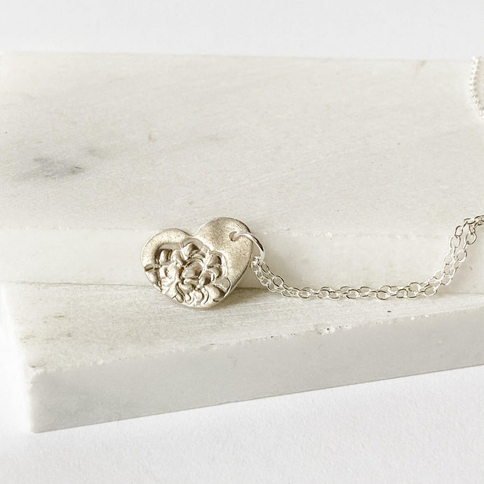 Heart Silver Necklace, Precious Metal Clay Silver with Sterling Silver Chain