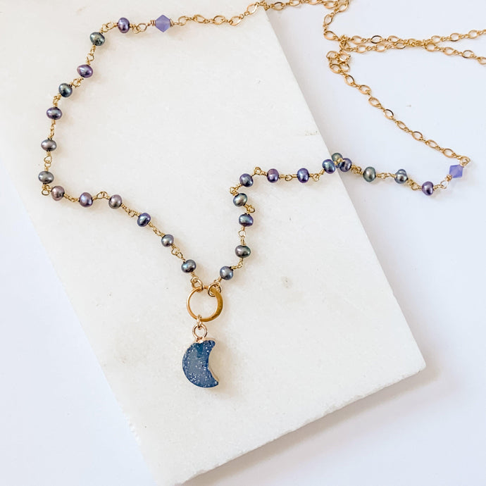 Druzy Quartz Blue Mini Moon and Peacock Pearl, Vermeil, 14K Gold Filled Circlet Necklace