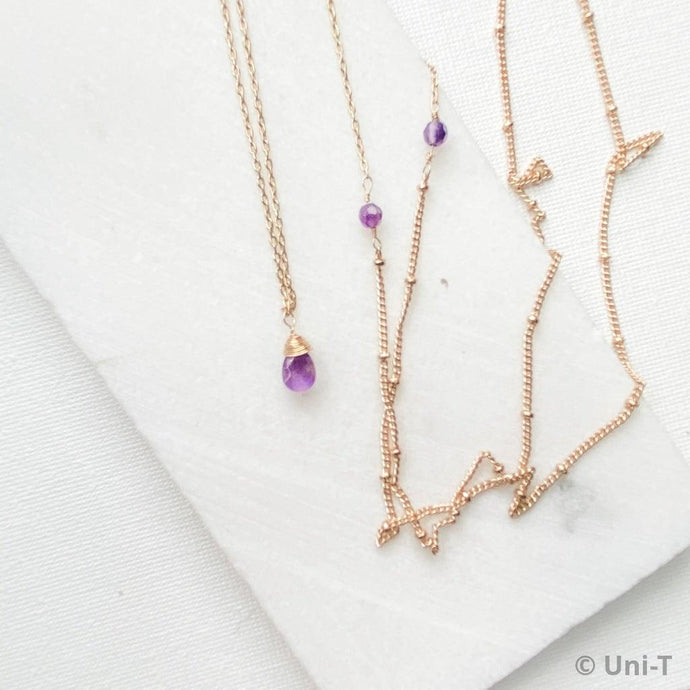 Amethyst on Extra Long Gold Chain Necklace