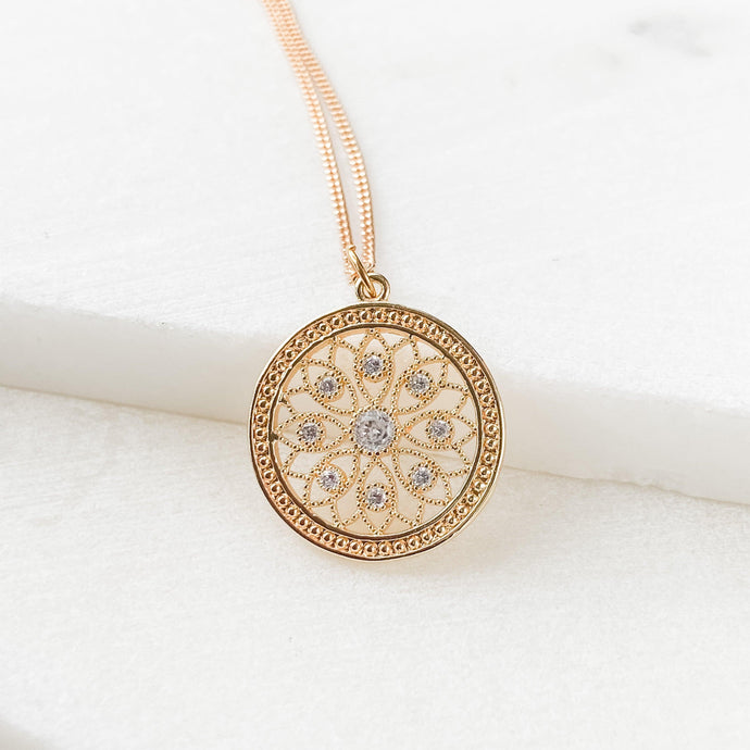 Gold Filled Cubic Zirconia Flower Medallion Necklace