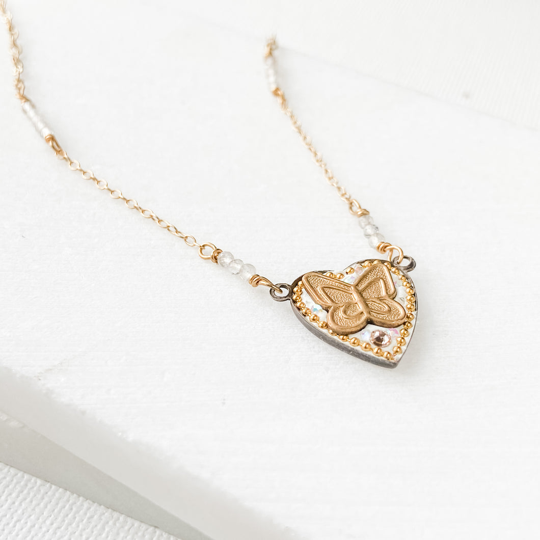 Tiny gold butterfly heart brass pendant