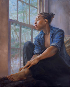 "Waiting at the Window Oil on Panel 16""x20"""