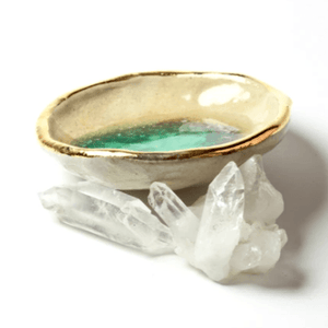 Chrysoprase Oyster Ring Dish, Chakra Bowl, 22k Gold Ceramic Bowl Uni-T Small Gifts